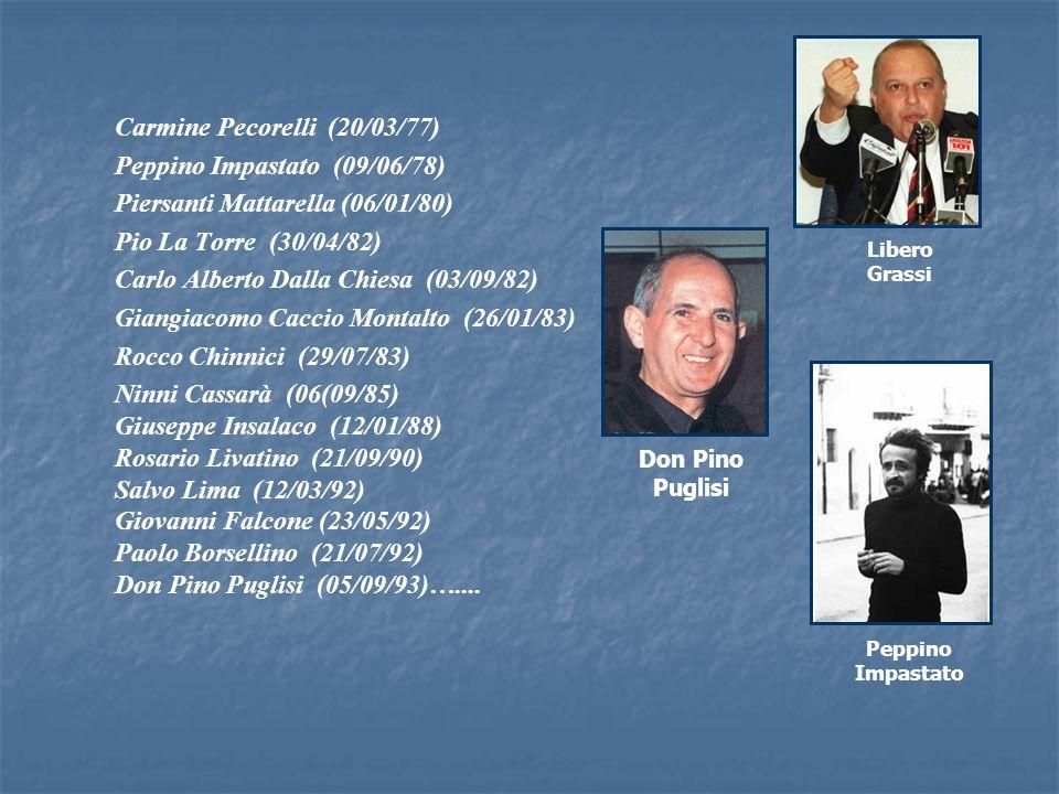Carmine Pecorelli (20/03/77) Peppino Impastato (09/06/78)