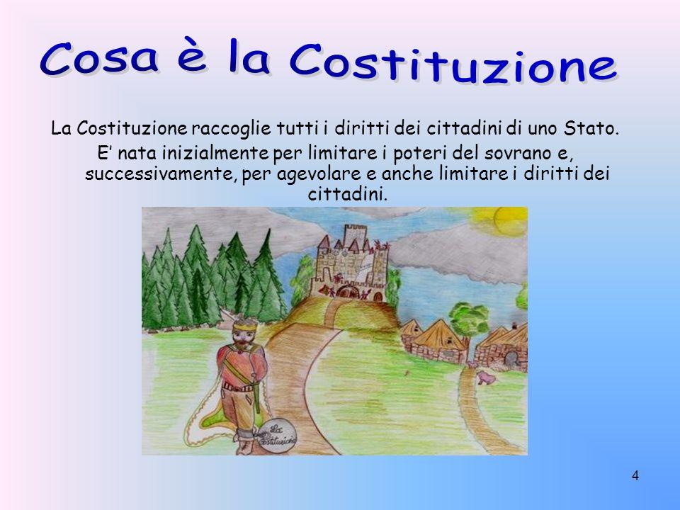 La Costituzione raccoglie tutti i diritti dei cittadini di uno Stato.