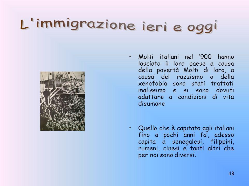 L immigrazione ieri e oggi