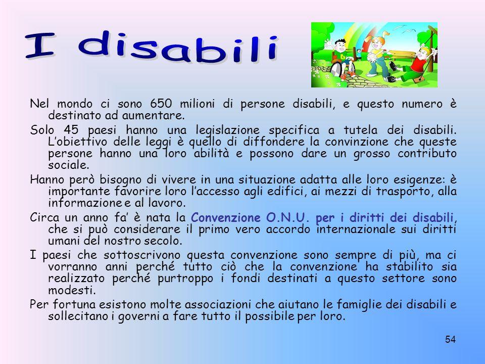 I disabili Nel mondo ci sono 650 milioni di persone disabili, e questo numero è destinato ad aumentare.