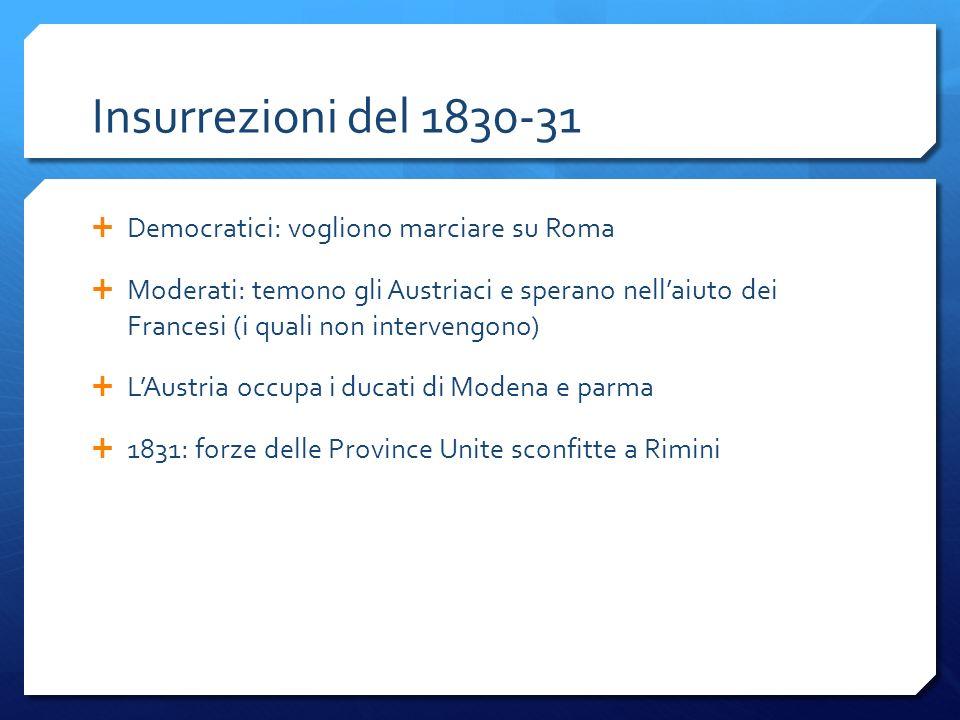 Insurrezioni del 1830-31 Democratici: vogliono marciare su Roma