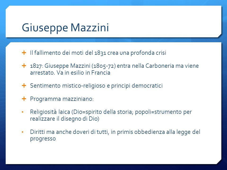 Giuseppe Mazzini Il fallimento dei moti del 1831 crea una profonda crisi.