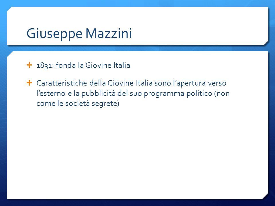Giuseppe Mazzini 1831: fonda la Giovine Italia