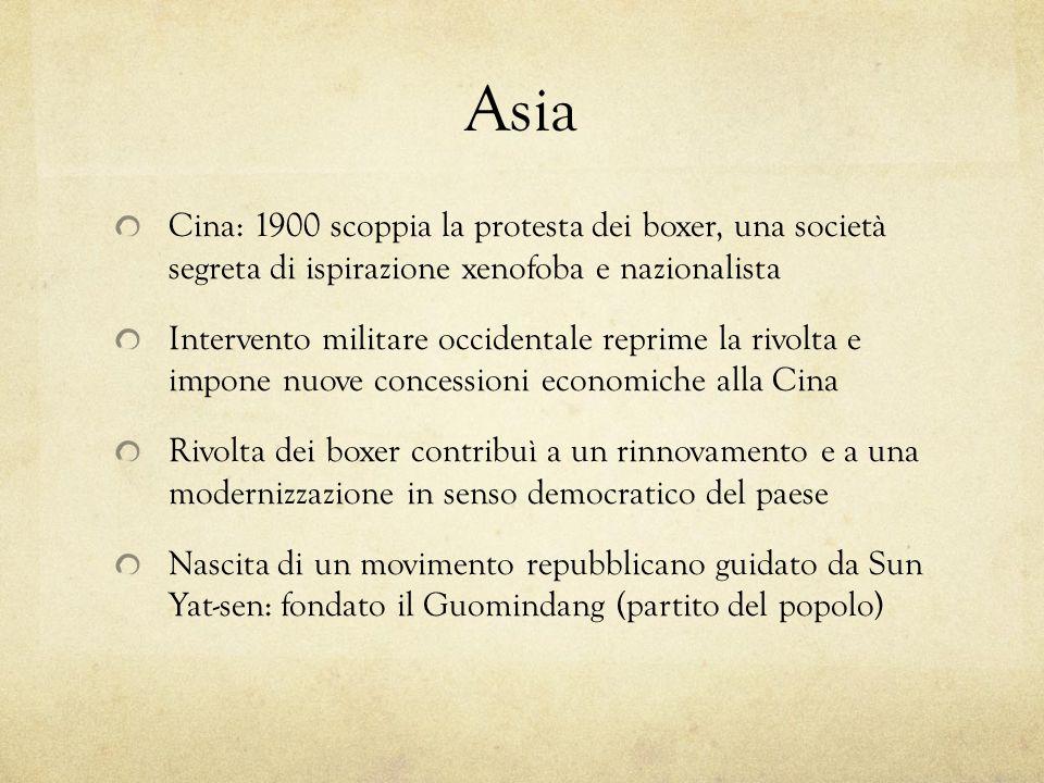 Asia Cina: 1900 scoppia la protesta dei boxer, una società segreta di ispirazione xenofoba e nazionalista.