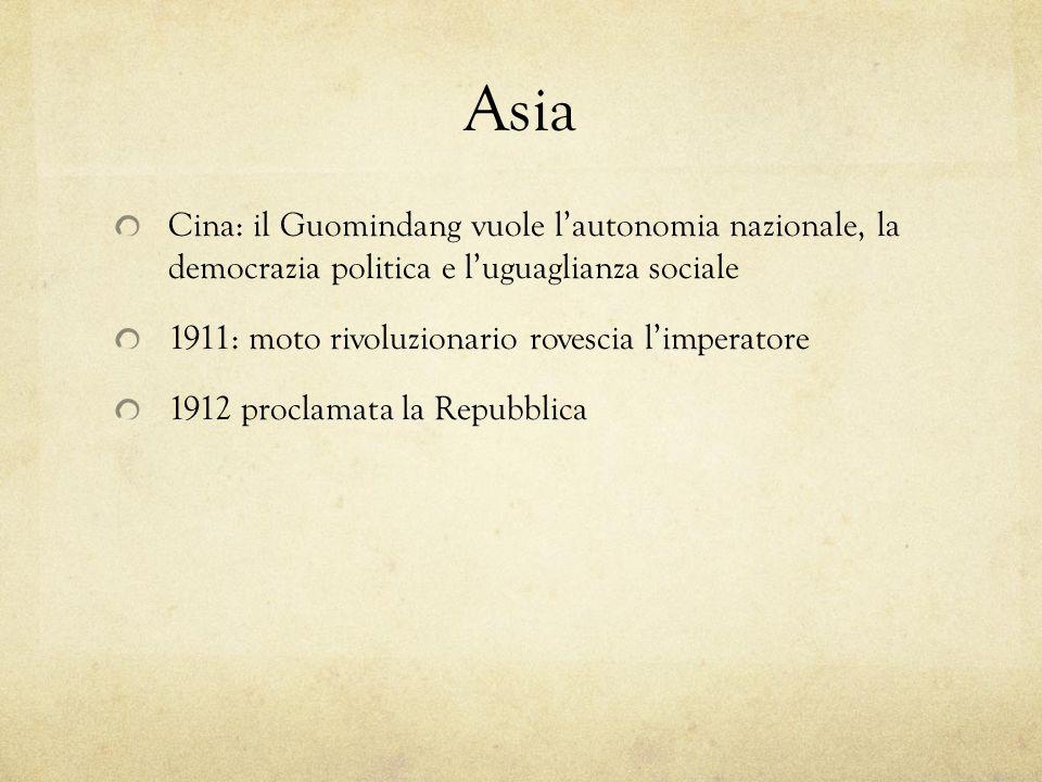 Asia Cina: il Guomindang vuole l'autonomia nazionale, la democrazia politica e l'uguaglianza sociale.