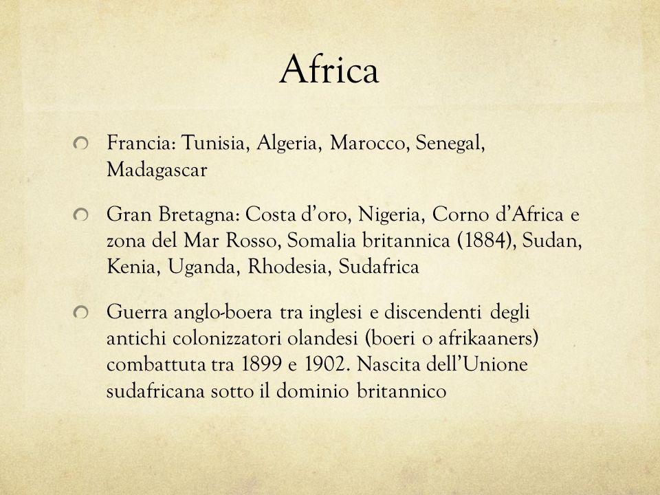 Africa Francia: Tunisia, Algeria, Marocco, Senegal, Madagascar