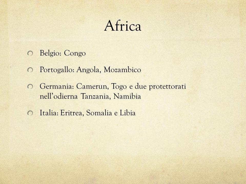 Africa Belgio: Congo Portogallo: Angola, Mozambico