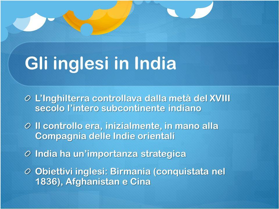 Gli inglesi in India L'Inghilterra controllava dalla metà del XVIII secolo l'intero subcontinente indiano.