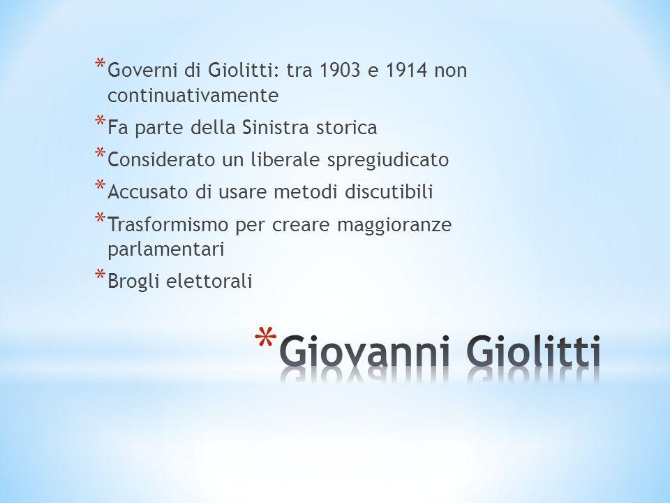 Governi di Giolitti: tra 1903 e 1914 non continuativamente
