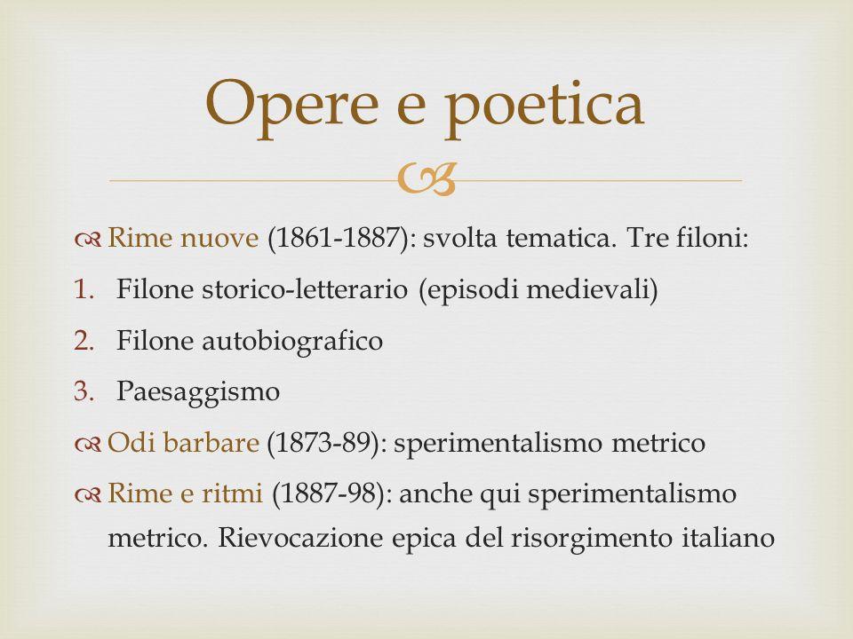 Opere e poetica Rime nuove (1861-1887): svolta tematica. Tre filoni: