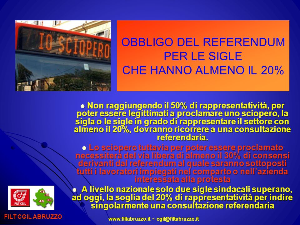 OBBLIGO DEL REFERENDUM PER LE SIGLE CHE HANNO ALMENO IL 20%