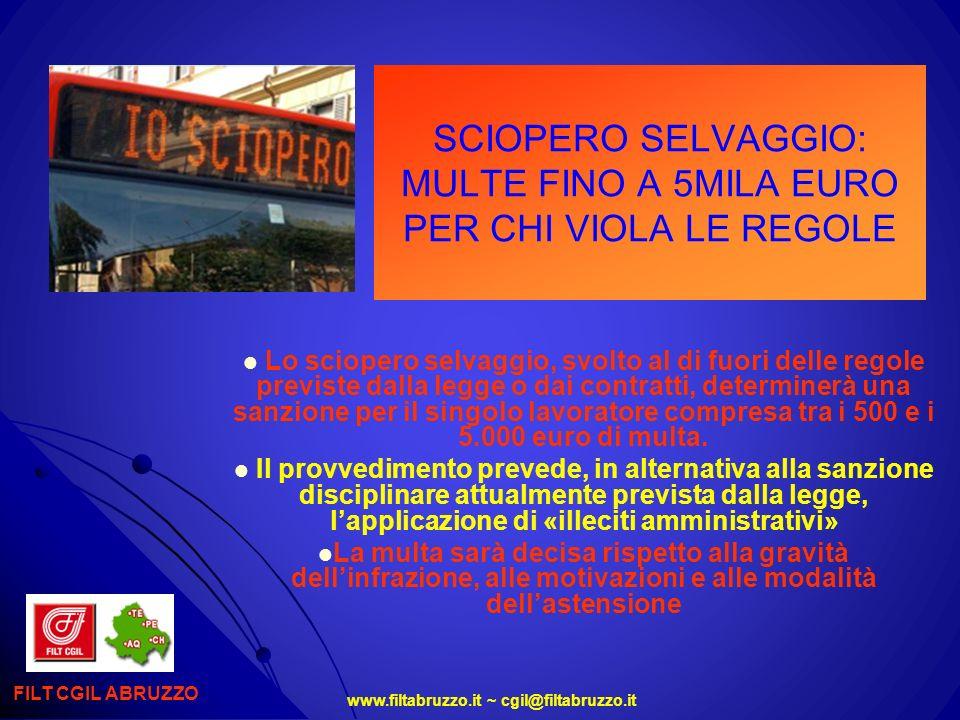 SCIOPERO SELVAGGIO: MULTE FINO A 5MILA EURO PER CHI VIOLA LE REGOLE