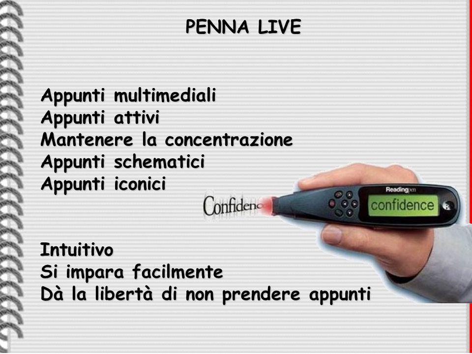 PENNA LIVE Appunti multimediali. Appunti attivi. Mantenere la concentrazione. Appunti schematici.
