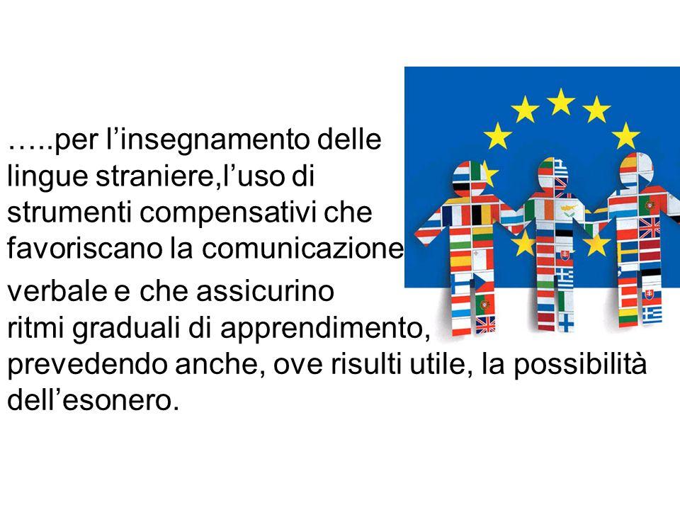 …..per l'insegnamento delle lingue straniere,l'uso di strumenti compensativi che favoriscano la comunicazione
