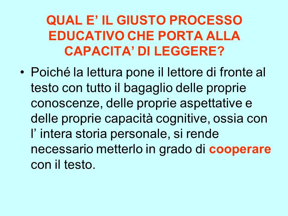QUAL E' IL GIUSTO PROCESSO EDUCATIVO CHE PORTA ALLA CAPACITA' DI LEGGERE