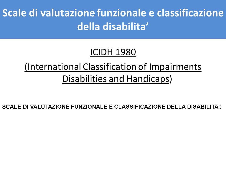 Scale di valutazione funzionale e classificazione della disabilita'