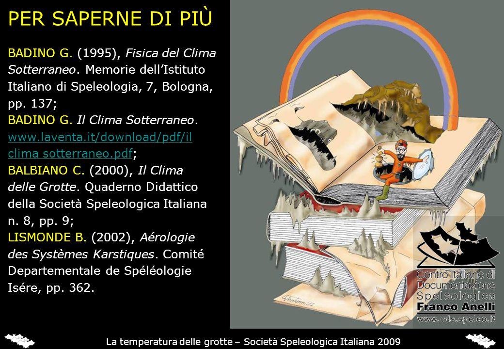 La temperatura delle grotte – Società Speleologica Italiana 2009