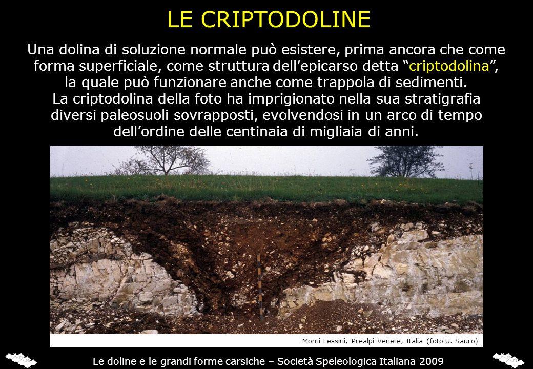 LE CRIPTODOLINE Una dolina di soluzione normale può esistere, prima ancora che come.
