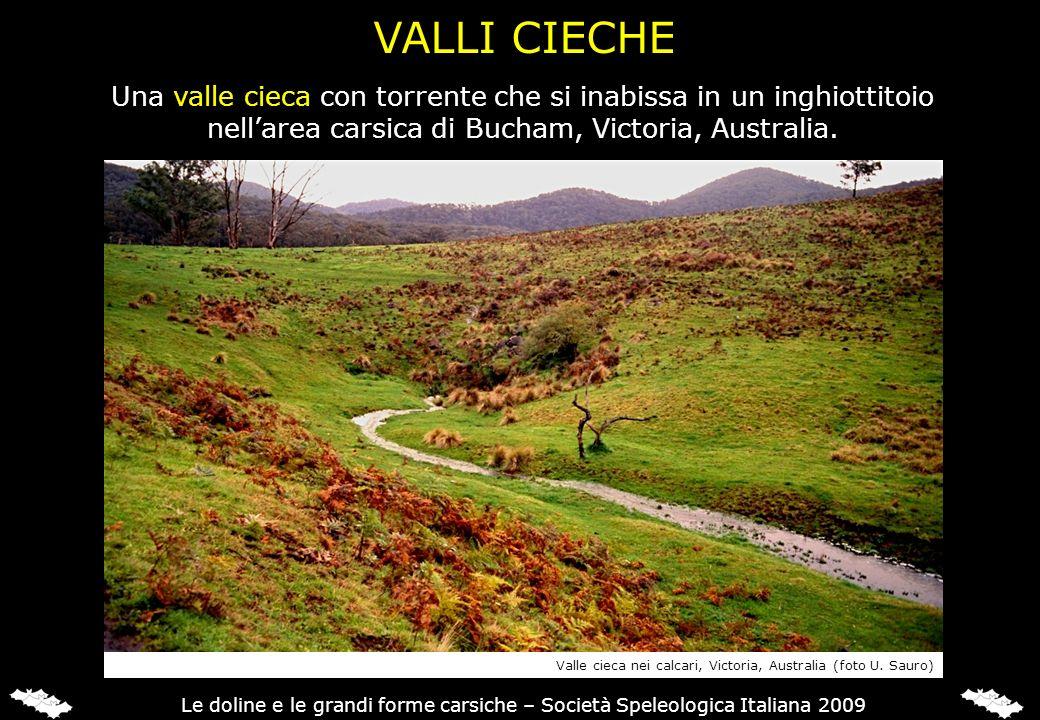 VALLI CIECHE Una valle cieca con torrente che si inabissa in un inghiottitoio. nell'area carsica di Bucham, Victoria, Australia.