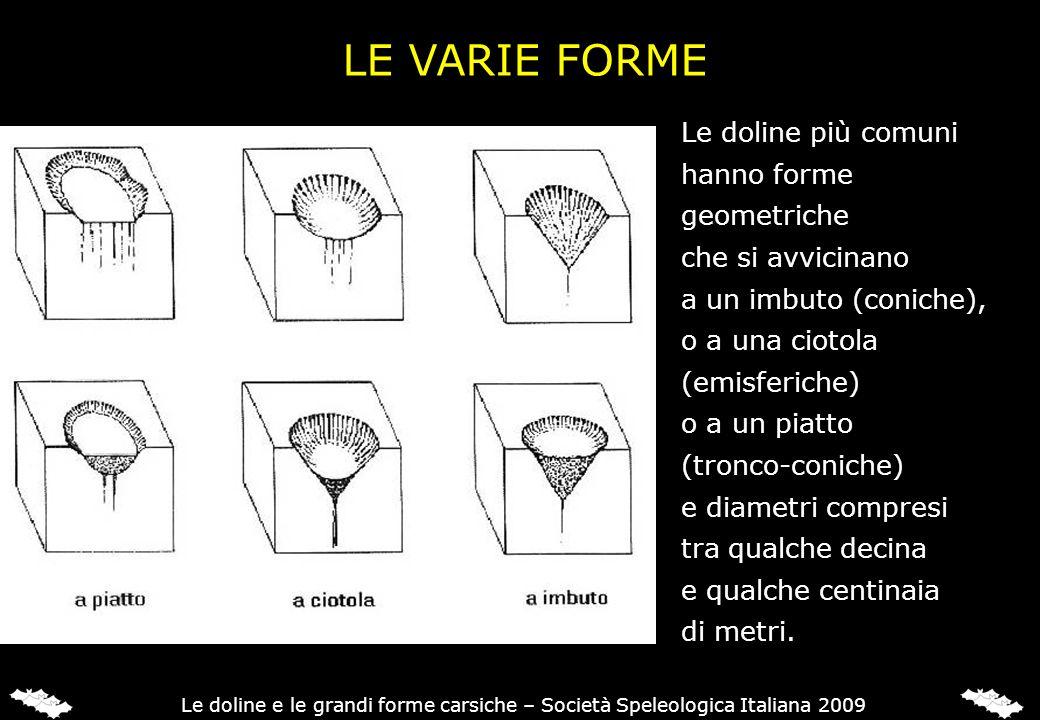 LE VARIE FORME Le doline più comuni hanno forme geometriche