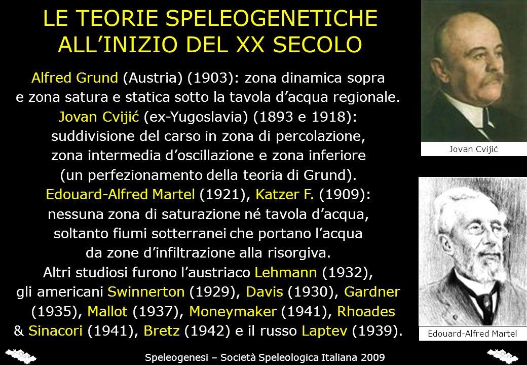 IL MODELLO DI GRUND (1903) Alfred Grund suddivideva l'acquifero carsico in due distinti livelli: