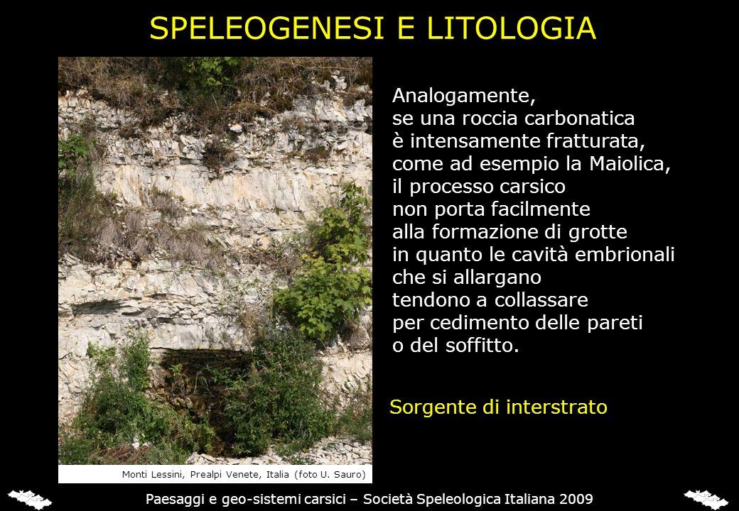 SPELEOGENESI E LITOLOGIA