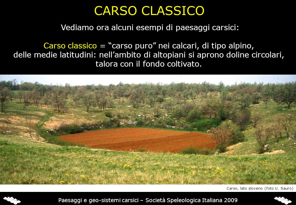 CARSO CLASSICO Vediamo ora alcuni esempi di paesaggi carsici: