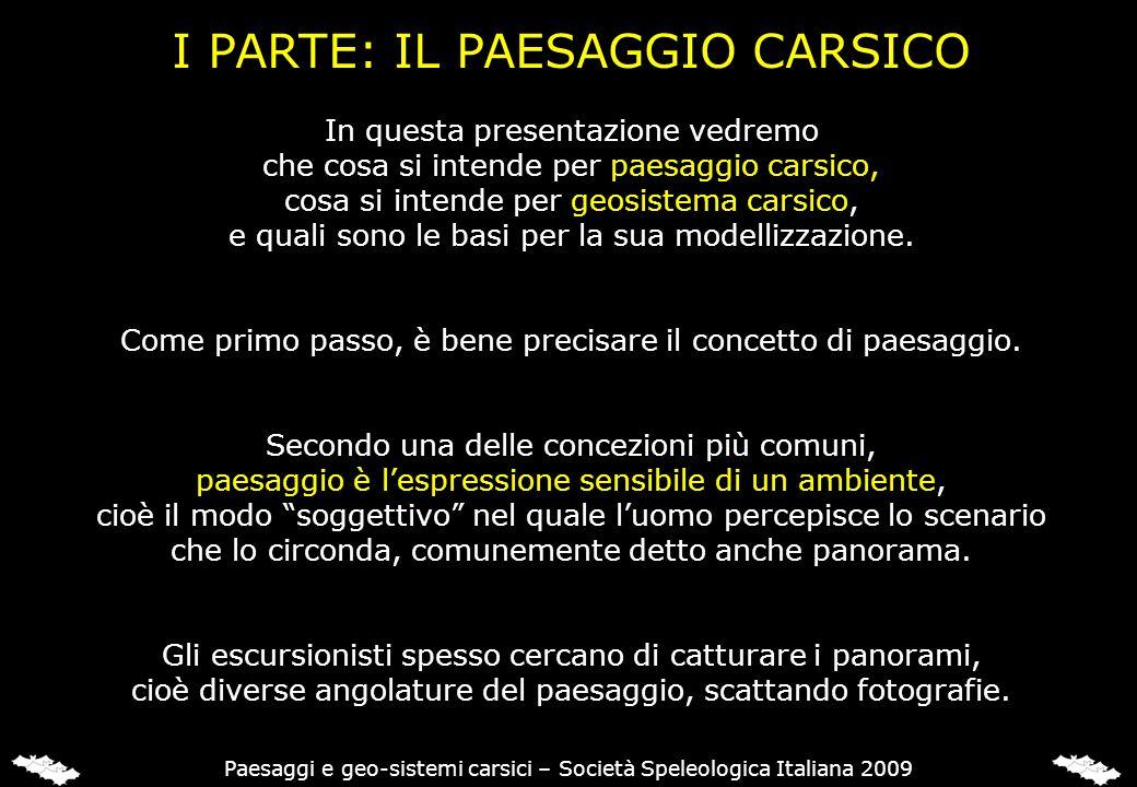 I PARTE: IL PAESAGGIO CARSICO