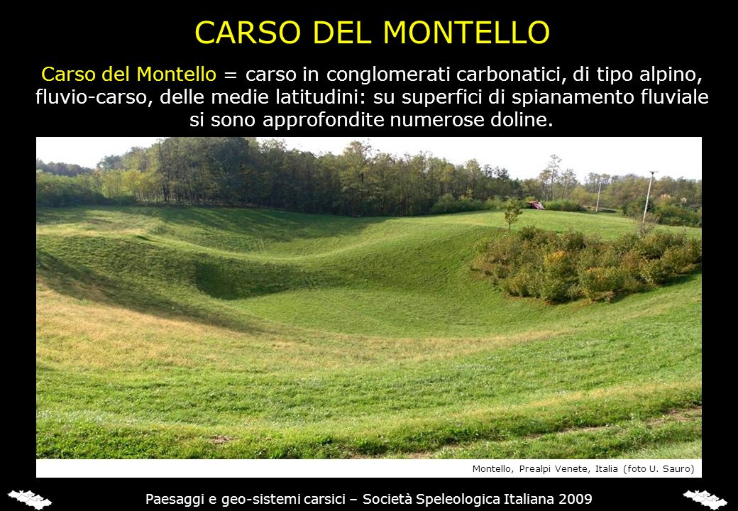 CARSO DEL MONTELLO Carso del Montello = carso in conglomerati carbonatici, di tipo alpino,