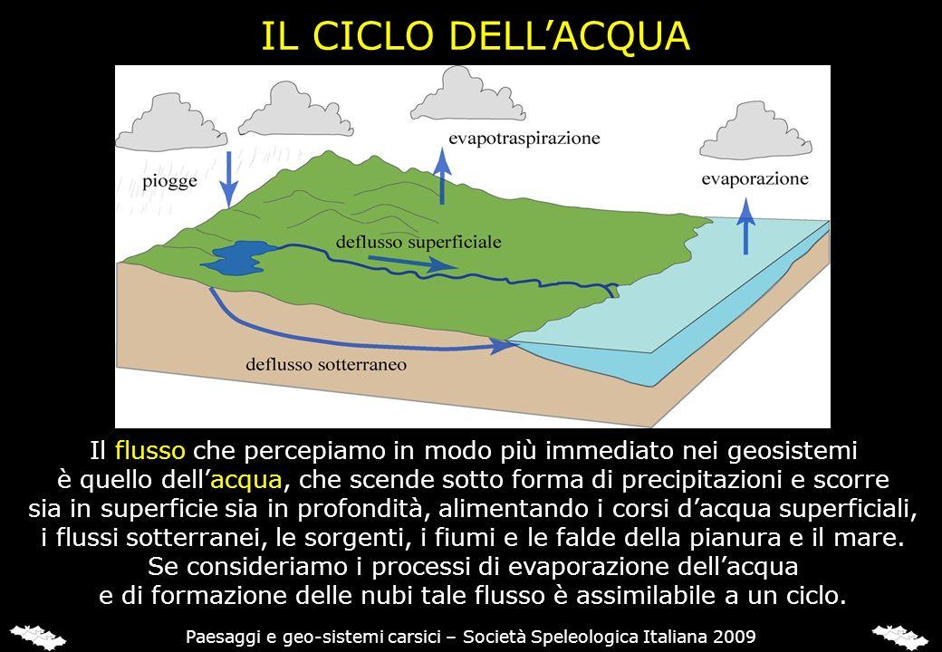 IL CICLO DELL'ACQUA Il flusso che percepiamo in modo più immediato nei geosistemi.