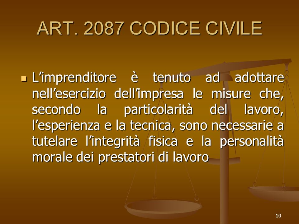 ART. 2087 CODICE CIVILE