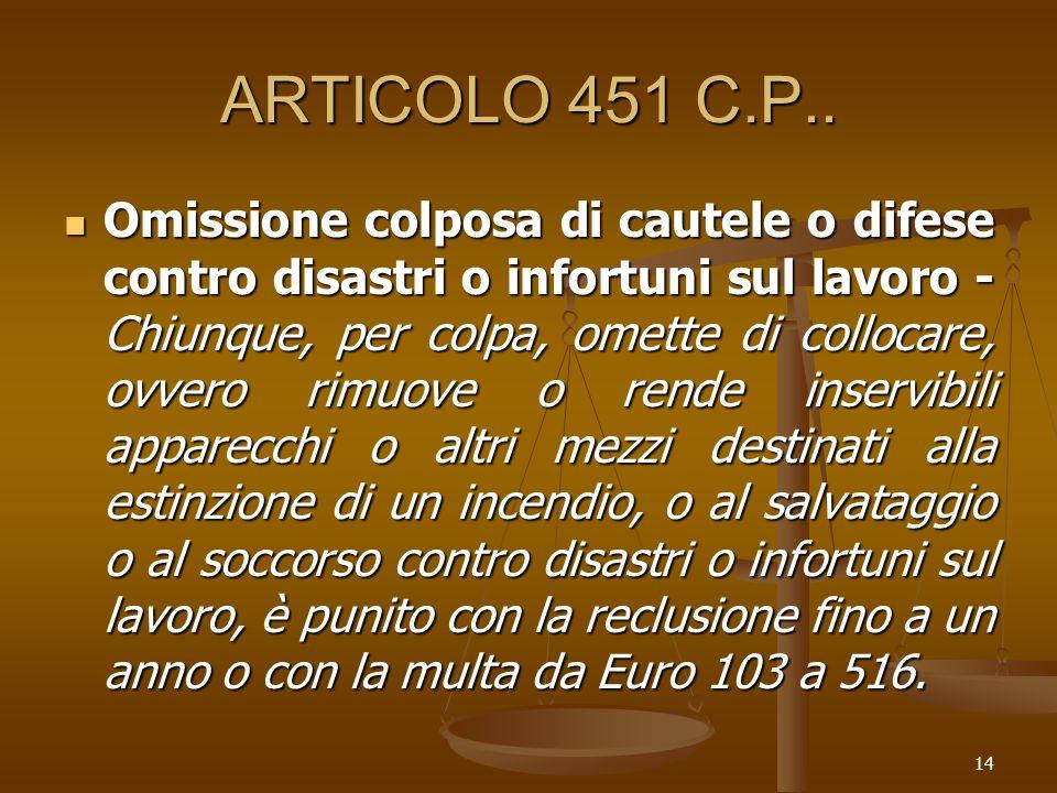 ARTICOLO 451 C.P..