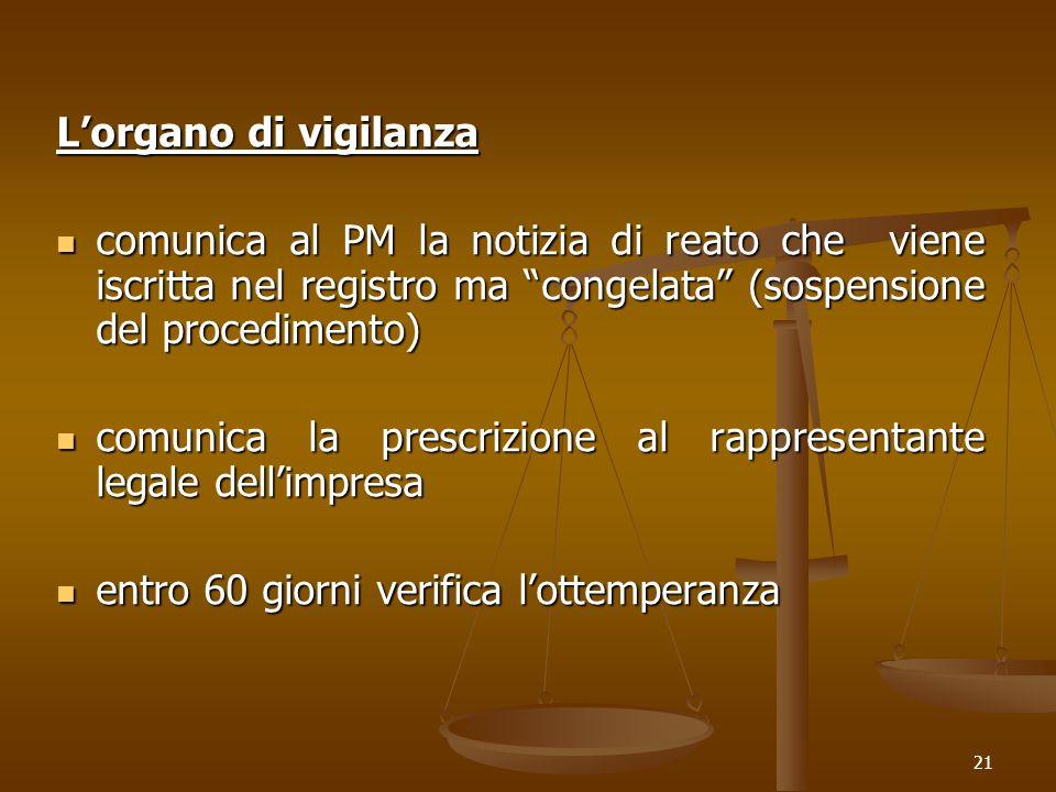 L'organo di vigilanza comunica al PM la notizia di reato che viene iscritta nel registro ma congelata (sospensione del procedimento)
