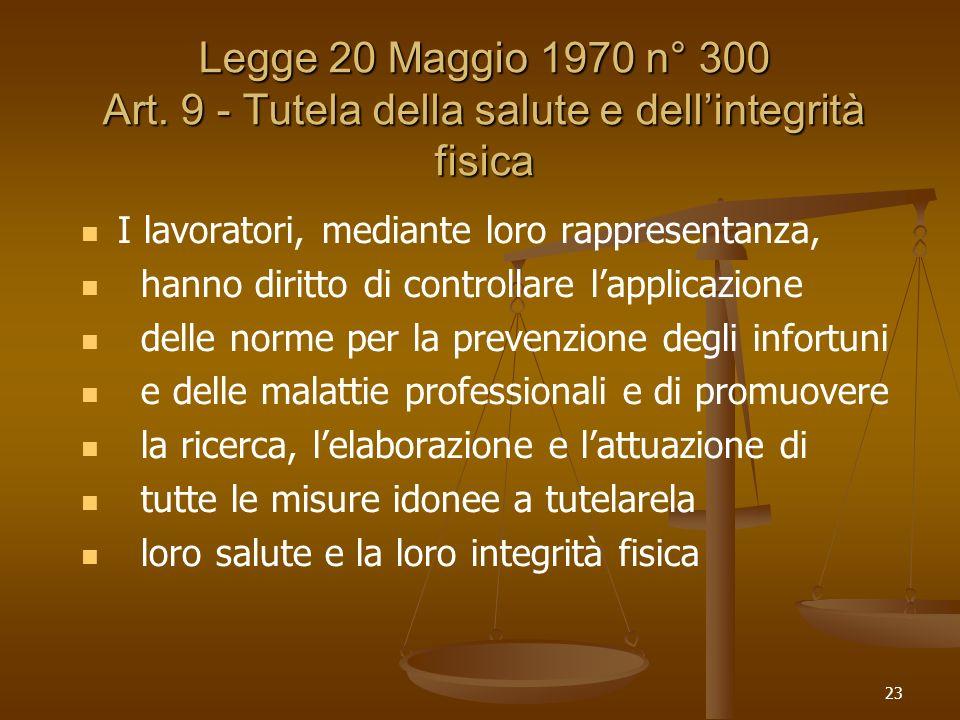 Legge 20 Maggio 1970 n° 300 Art. 9 - Tutela della salute e dell'integrità fisica