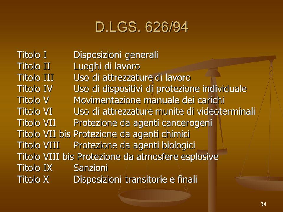 D.LGS. 626/94 Titolo I Disposizioni generali