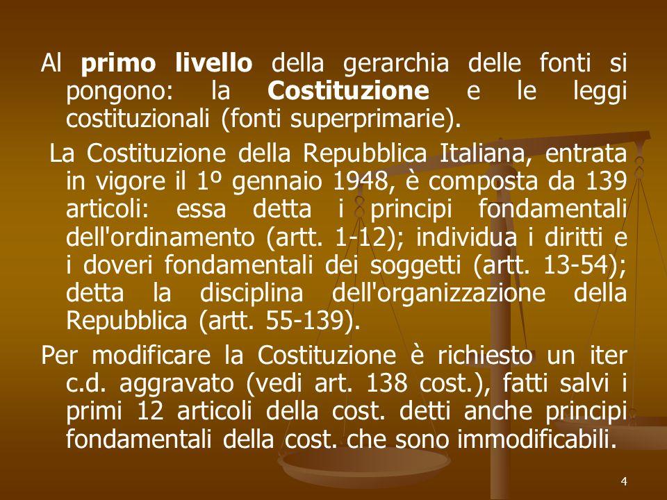 Al primo livello della gerarchia delle fonti si pongono: la Costituzione e le leggi costituzionali (fonti superprimarie).