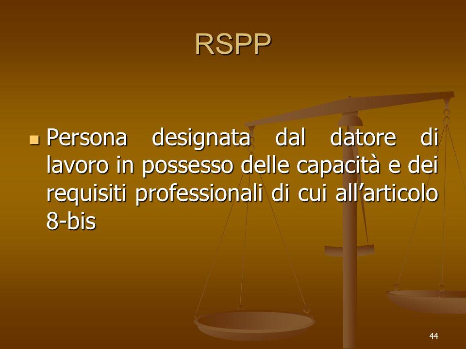 RSPP Persona designata dal datore di lavoro in possesso delle capacità e dei requisiti professionali di cui all'articolo 8-bis.