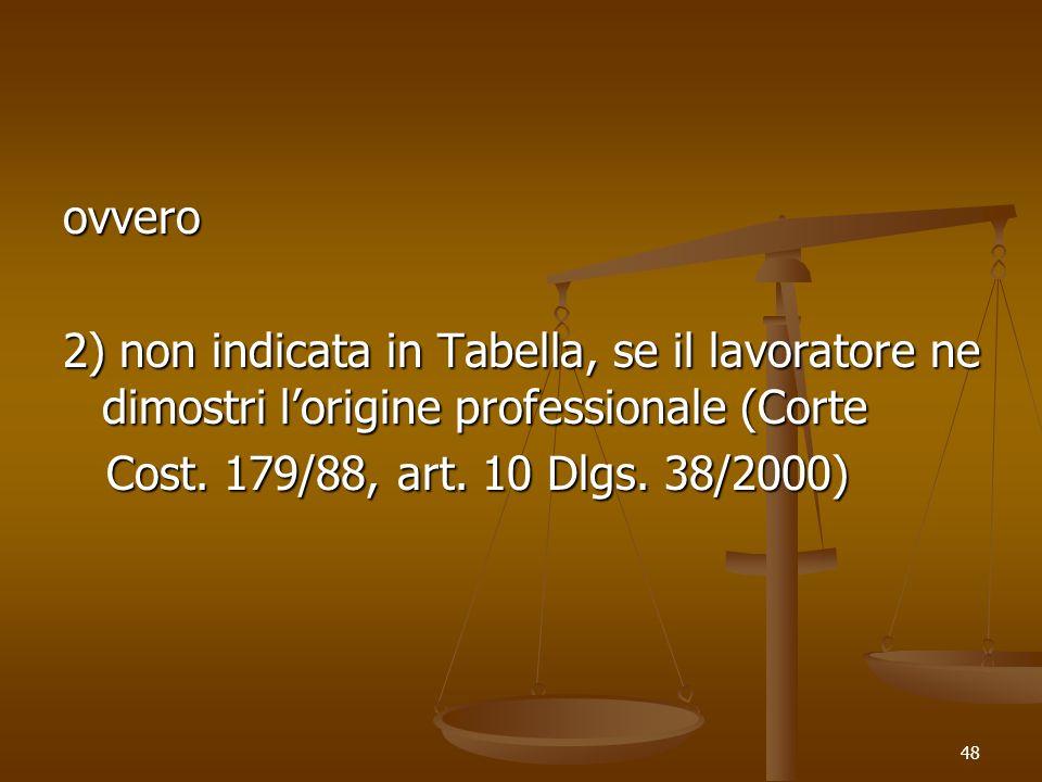 ovvero 2) non indicata in Tabella, se il lavoratore ne dimostri l'origine professionale (Corte.