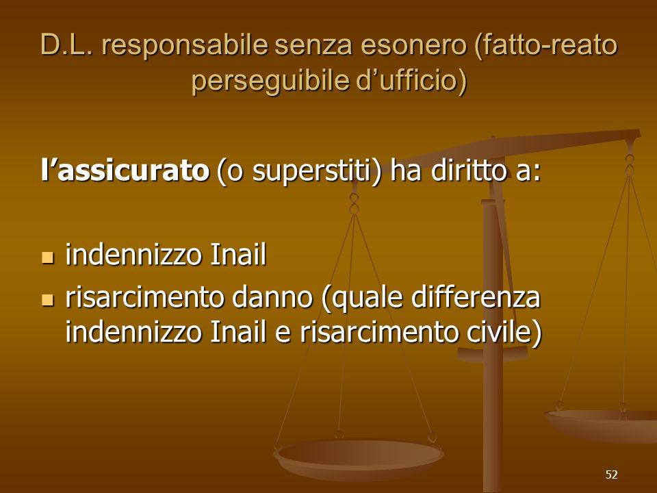 D.L. responsabile senza esonero (fatto-reato perseguibile d'ufficio)