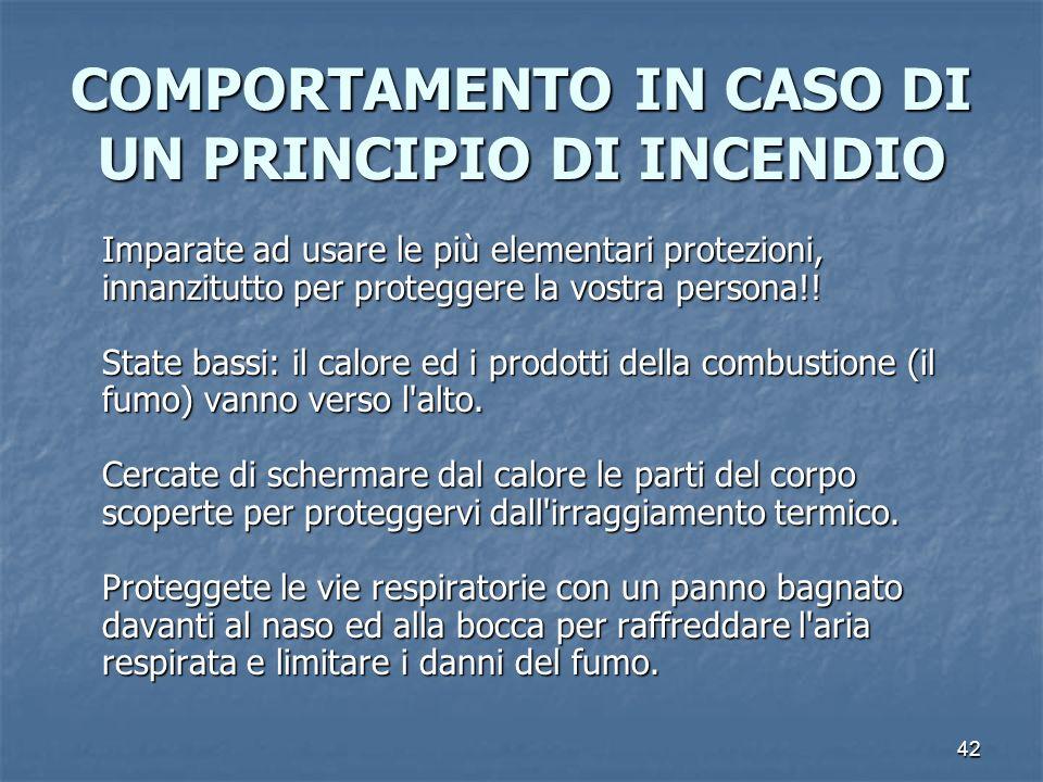 COMPORTAMENTO IN CASO DI UN PRINCIPIO DI INCENDIO