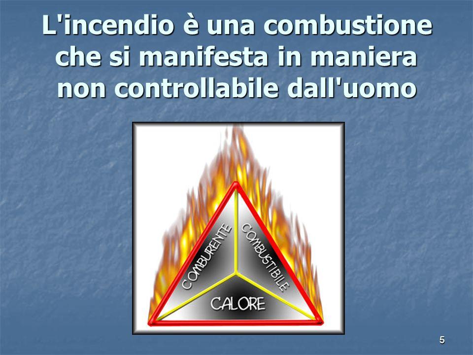 L incendio è una combustione che si manifesta in maniera non controllabile dall uomo