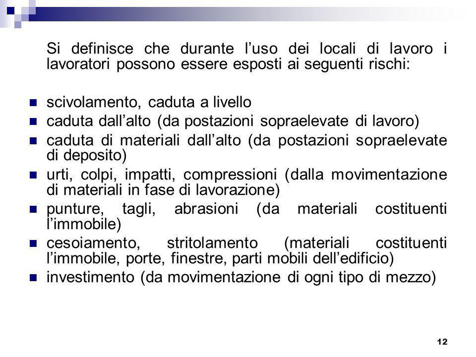 Si definisce che durante l'uso dei locali di lavoro i lavoratori possono essere esposti ai seguenti rischi: