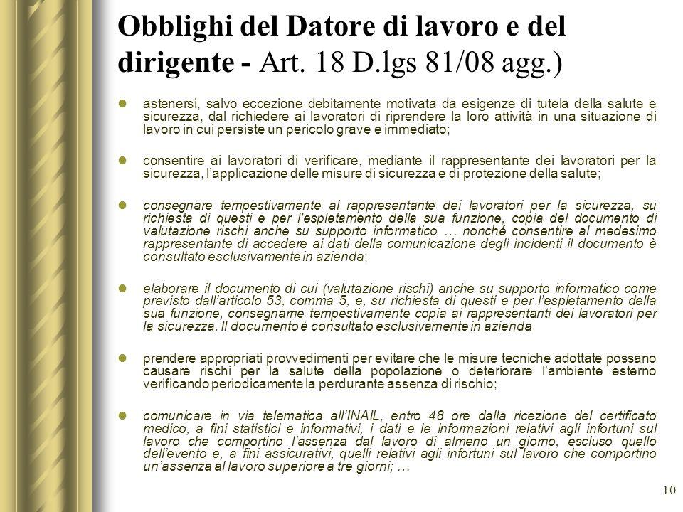 Obblighi del Datore di lavoro e del dirigente - Art. 18 D