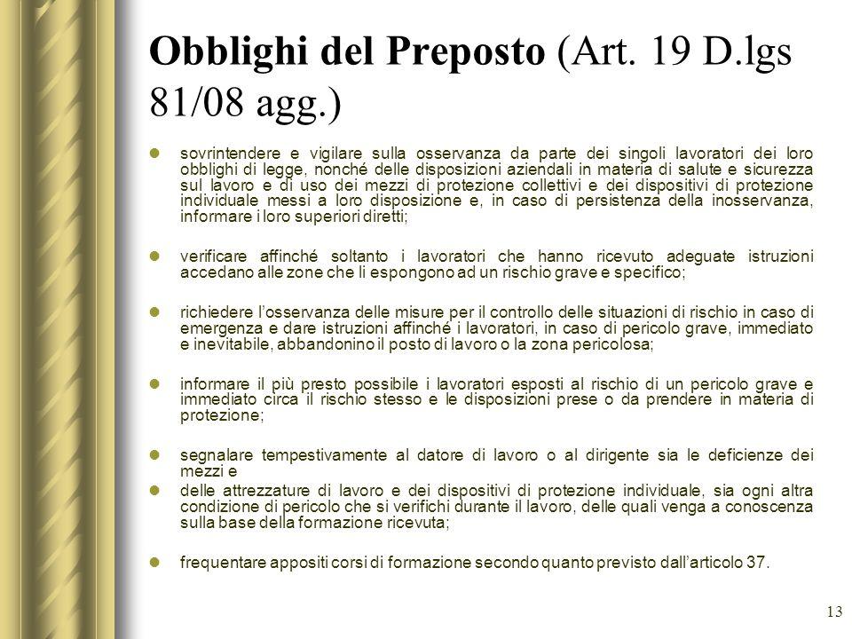 Obblighi del Preposto (Art. 19 D.lgs 81/08 agg.)