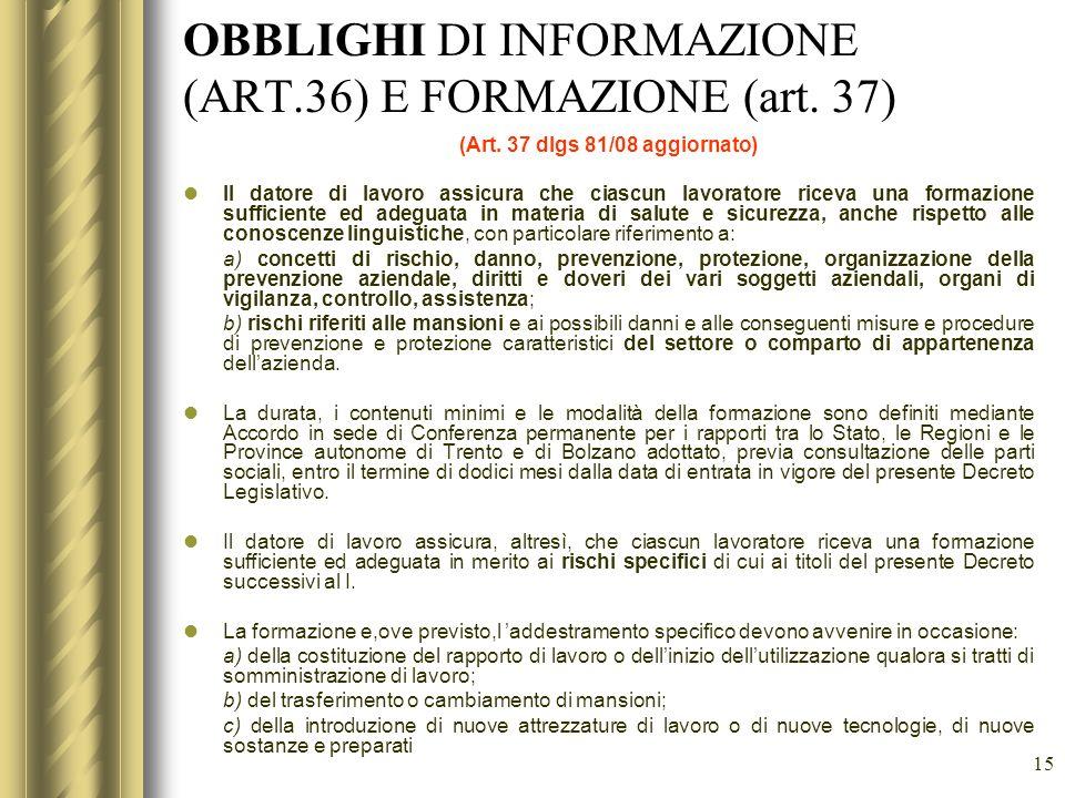 OBBLIGHI DI INFORMAZIONE (ART.36) E FORMAZIONE (art. 37)