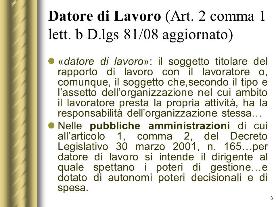 Datore di Lavoro (Art. 2 comma 1 lett. b D.lgs 81/08 aggiornato)