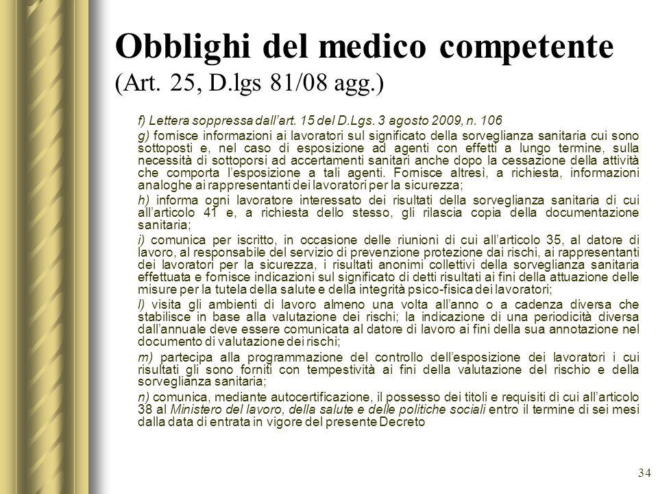 Obblighi del medico competente (Art. 25, D.lgs 81/08 agg.)