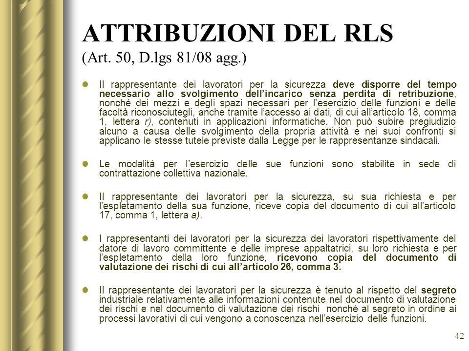 ATTRIBUZIONI DEL RLS (Art. 50, D.lgs 81/08 agg.)