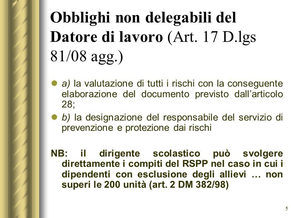 Obblighi non delegabili del Datore di lavoro (Art. 17 D. lgs 81/08 agg