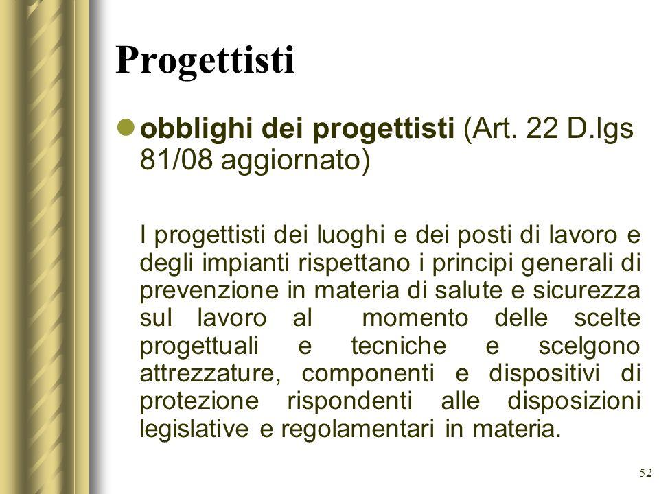 Progettisti obblighi dei progettisti (Art. 22 D.lgs 81/08 aggiornato)
